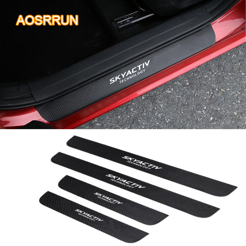 PU leather Carbon fiber Car-styling Door Sill Scuff Plate Car Accessories For <font><b>Mazda</b></font> <font><b>CX5</b></font> CX-5 2017 2018 <font><b>Mazda</b></font> 3 AXELA car-styting image