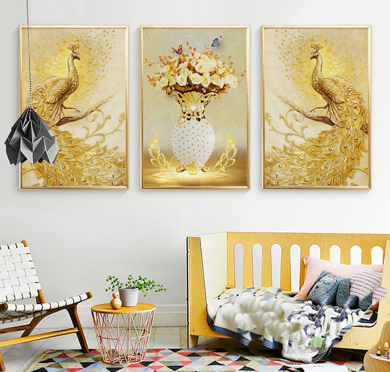 Nordic luxurious Style Golden Phoenix Animal Poster Canvas Wall Home ...