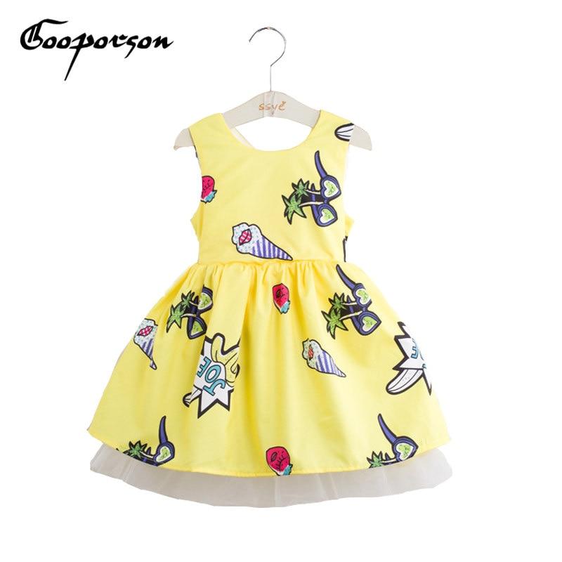 Girls Dress Icecream Printed Yellow Dress Summer Baby Girl Dress With Bow Fashion Brand Kids Dress Children Clothes