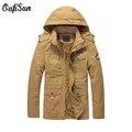 Новые мужские куртки осень зима теплый флис 100% хлопок толщиной армия качество Нескольких карманный Epaulet пальто oufisun brand clothing