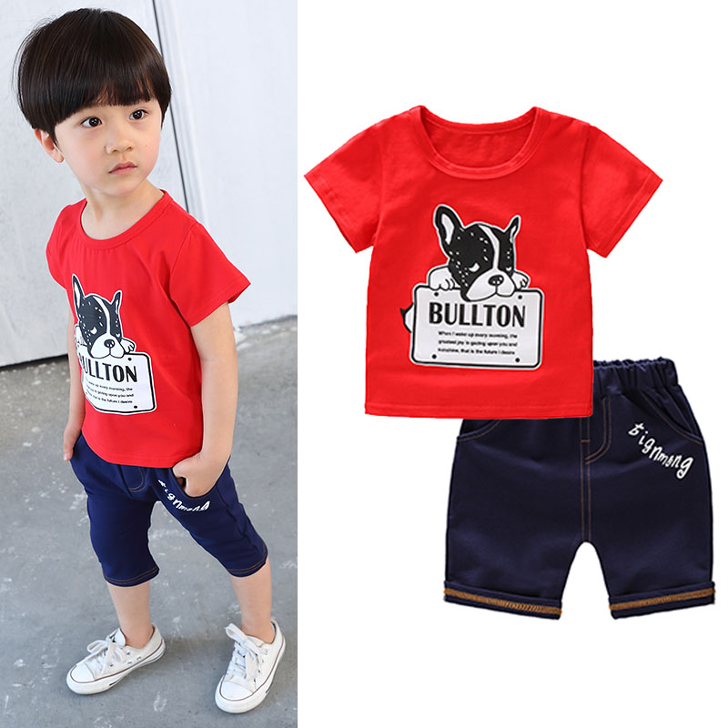 Fashion Summer Boys Clothes Set Cartoon Dog Bulldog Boy T Shirts Set Pullover Shorts Children Clothes Set