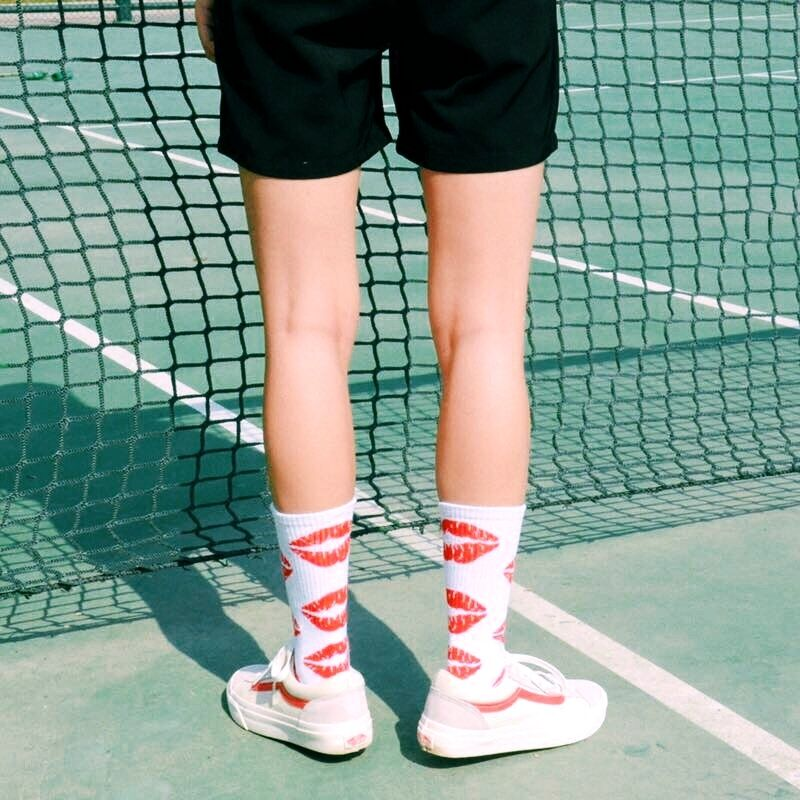 Skateboard Lip Patterned Cotton Socks Men Red Mouth Funny Short Socks Women Fashion Cool Harajuku Socks Couple Hipster Sox