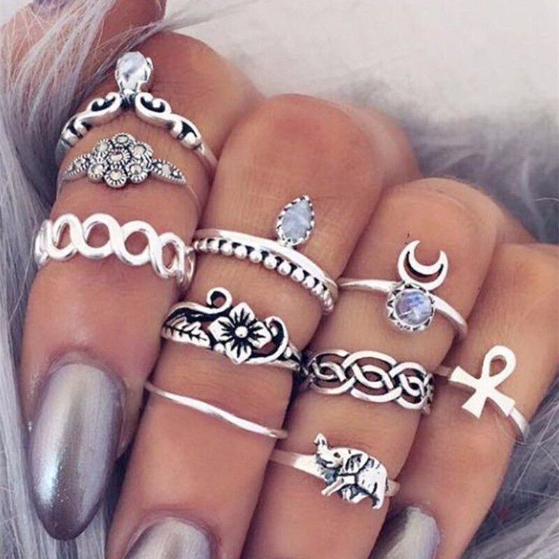 10tk / komplekt Vintage etniline Böömi BOHO ring Hollow Geometric Moon Elephant Flower Punk Joint Ring Naiste sõrme ehted hulgimüük