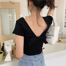 t-shirt women Clothes 2019Tshirt Women's Short Sleeve Sexy Backless Round Neck Solid Casual Back Bow Knitted T-Shirt casual round neck long sleeve back slit women s t shirt