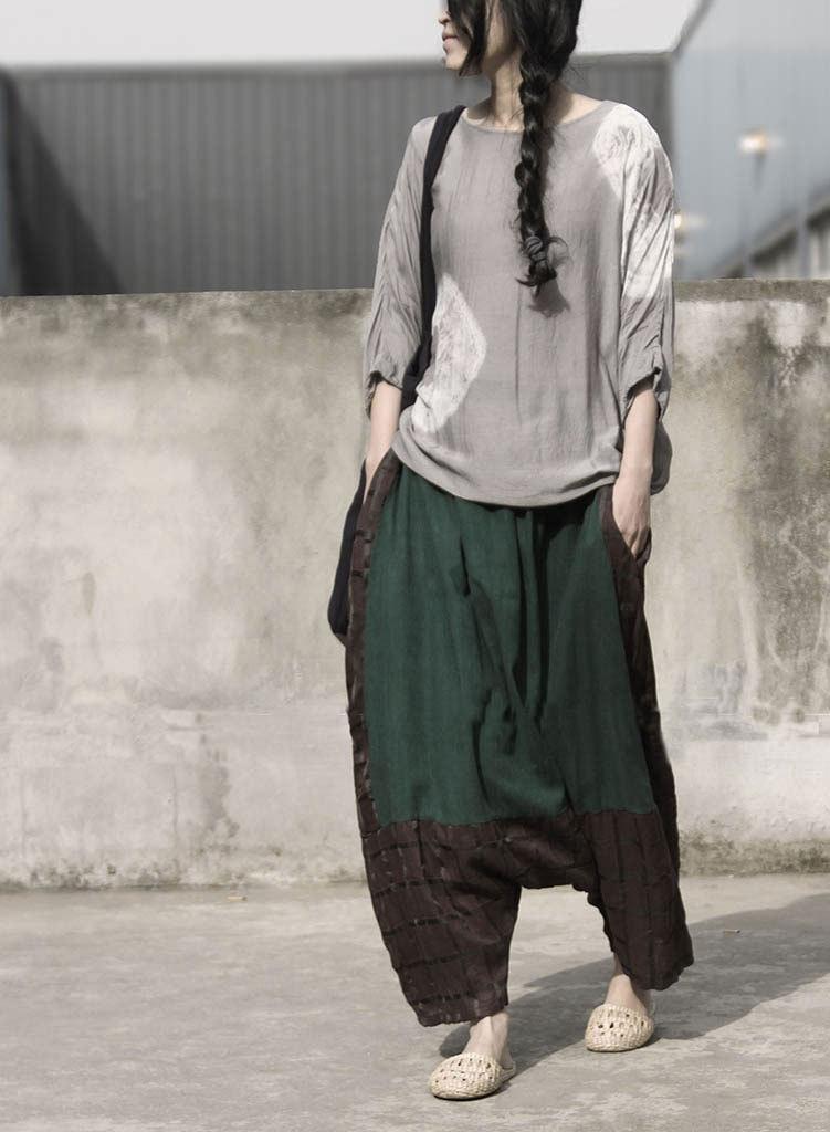 Femenino Holgados Estilo Pantalones 2018 Entrepierna Remiendo Coffee Ocasional Algodón Vintage Plaid Suelto Retro Mujeres Flojo Señoras Gota qwwXz6xSAH