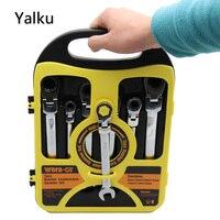 Yalku 7pcs Spanner Combination Wrench Set Ratchet Handle Key Chrome Vanadium Combination Wrench Adjustable Tool Kit Spanner Set