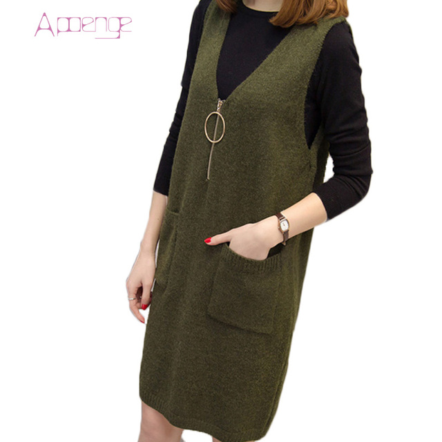 Apoenge 2017 комплект из 2 предметов осенние и зимние платье корейской одежды для женщин свободное платье свитер с длинным рукавом платья сарафаны LZ304