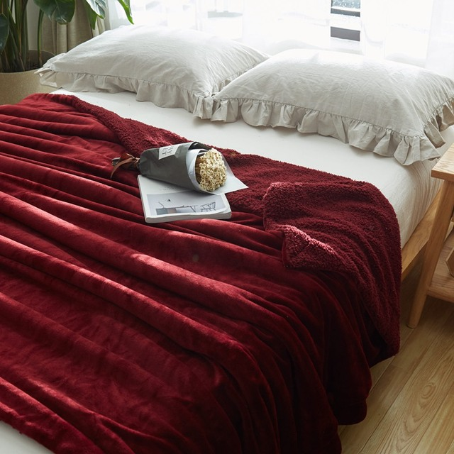 Red Wine Solid Color Brand 40 Layers Sherpa Blankets Christmas Gift Stunning Red And White Christmas Throw Blanket