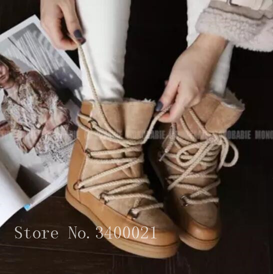 Hot Winter Warm Snow Women Boots With Fur Inside Brand Design Ankle Boots Flats Height Increasing Lace up Shoes Woman Sapatos De