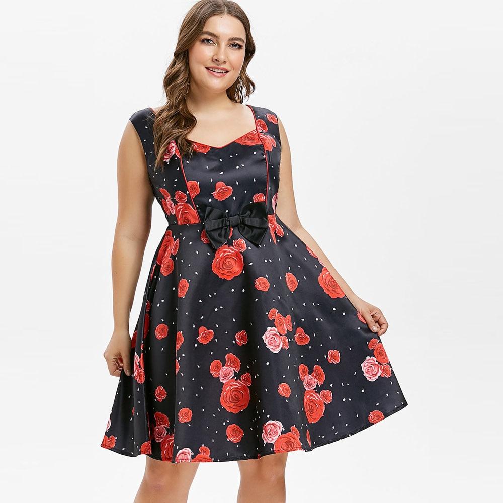 0888d9c3937 Kenancy Plus Size 4XL Sleeveless Flower Dress Bowknot Party Vestidos  Rockabilly Swing Women Vintage Dress Retro