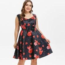 d9a47c0cf1 Kenancy Plus Size 4XL Kwiat Sukienka Bez Rękawów Bowknot Party Vestidos  Rockabilly Swing Kobiety Sukienka W Stylu Vintage Retro .