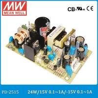 Original MEAN WELL PD 2515 15V 0 1 1A 15V 0 1 1A 24W Dual Output