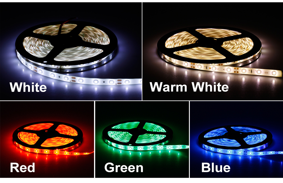 HTB15zu2Qb2pK1RjSZFsq6yNlXXaF LED Strip 5050 2835 DC12V Flexible LED Light Tape 60LEDs/M White / Warm White / Blue / Green / Red Waterproof RGB LED Strip 5M