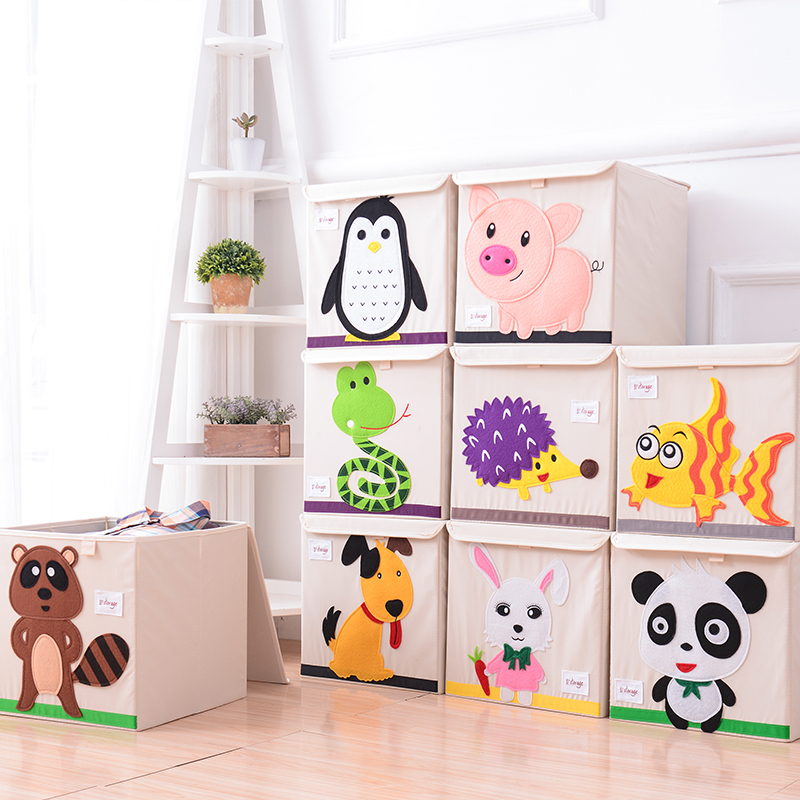 Cute Animal Collapsible Toy Storage Organizer Folding: 3D Embroider Cartoon Animal Folding Large Storage Box For