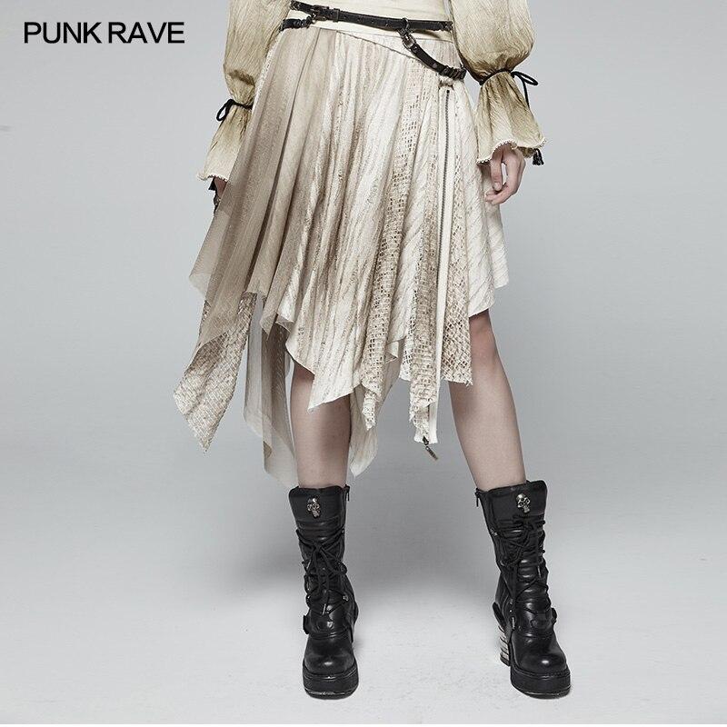 Punk Rave Women Half Skirt Steampunk Fashion Casual Vintage Victorian Lace Asymmetric Personality Half Skirt