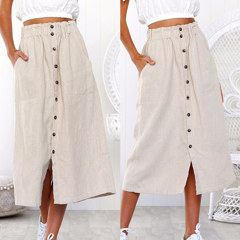 Womens Daily Summer Bohemia soft and comfortable High Waist Line Button  Beach Wrap  Maxi Long Skirt L50/0117