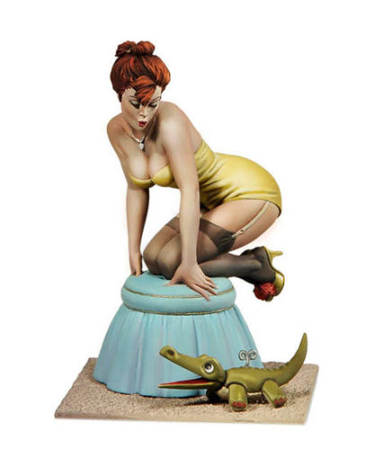 1/22 80mm Mind The Animal Pin Up Girl 80mm   Toy Resin Model Miniature Kit Unassembly Unpainted