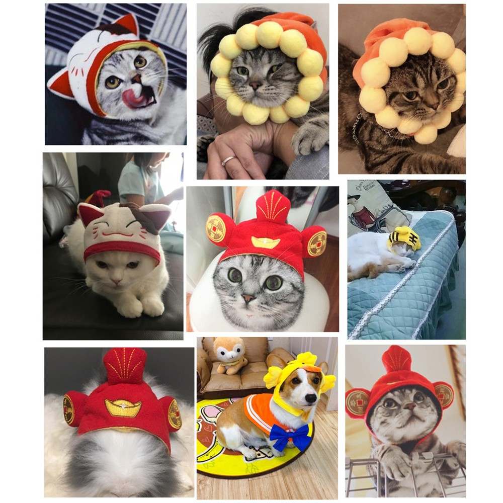 Cotton Pet Hat Decorative Party Pet Cap for Cats Small Dogs Adjustable Cute Cosplay Pet Accessories Cute Headwears for Cat Puppy in Dog Caps from Home Garden