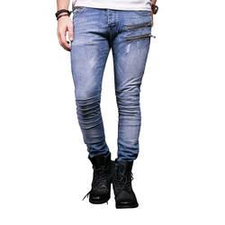 Mcikkny модные Для мужчин; обтягивающие джинсы стрейч джинсовые узкие брюки уличная плиссированные джинсы брюки для мужчин Мульти-карманы