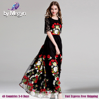 High Quality 2017 Runway Maxi Party Dresses Women Half Flare Sleeve Vintage Floral Embroided Black Lace