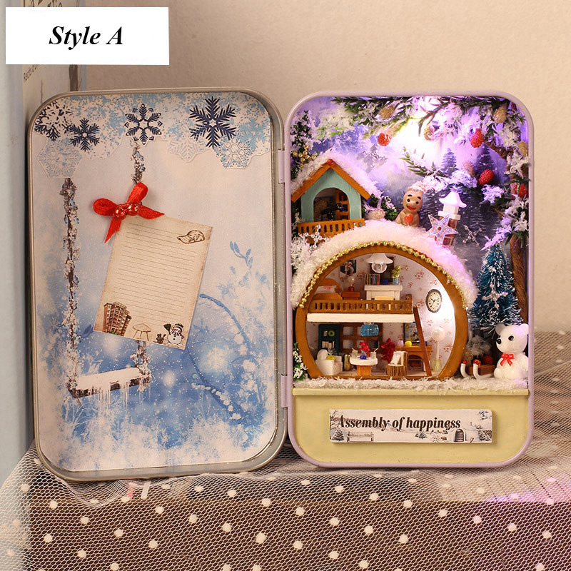 Snow Holiday 3D Wooden DIY Handmade Box Secret Dollhouse Miniature Box Cute Mini Doll House Assemble Kits Gift Toys