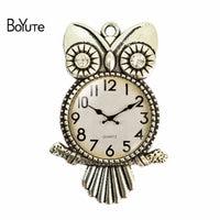 BoYuTe (12 Pieces/Lot) New 2017 Vintage Jewelry Pendant 55*36*25MM Image Owl Clock Glass Cabochon Women Pendant