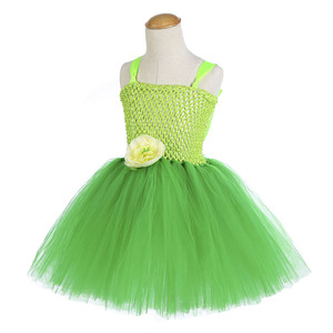 Image 3 - Green Santa Flower Fairy Princess Party Dresses for Little Girls Role Play Tutu Dress with Fairy Magic Wand Wing Headwear 1 12Y