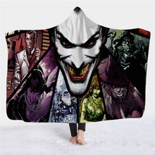 Batman Joker Hoodie Children Hoody Blanket Animal Unisex for Adult Sleeveless Movie Cosplay Costume Hooded Jack Napier Blankets