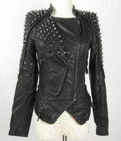 Hot Sell Womens Punk Spike Studded Shoulder Leather Jacket Coat Motorcycle Jack Hallowmas Christmas Clothing