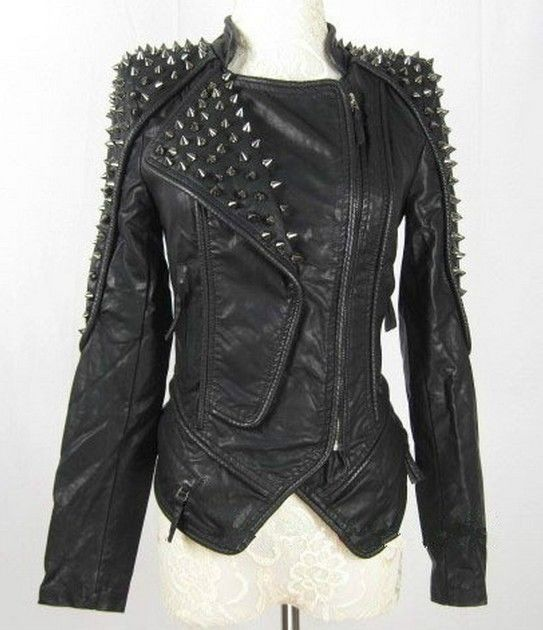 Hot sell! Womens Punk Spike Studded Shoulder Leather Jacket Coat Motorcycle Jack Hallowmas Christmas clothing vince womens leather quilted detail motorcycle jacket