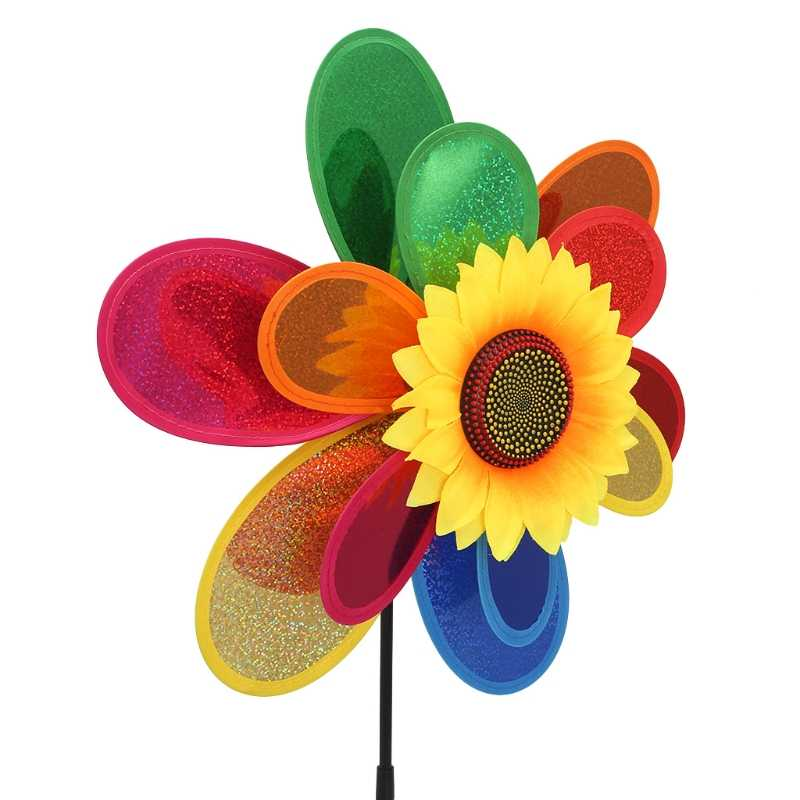 Sequins Double Layer Sunflower Windmill Wind Spinner Home Garden Yard Decoration