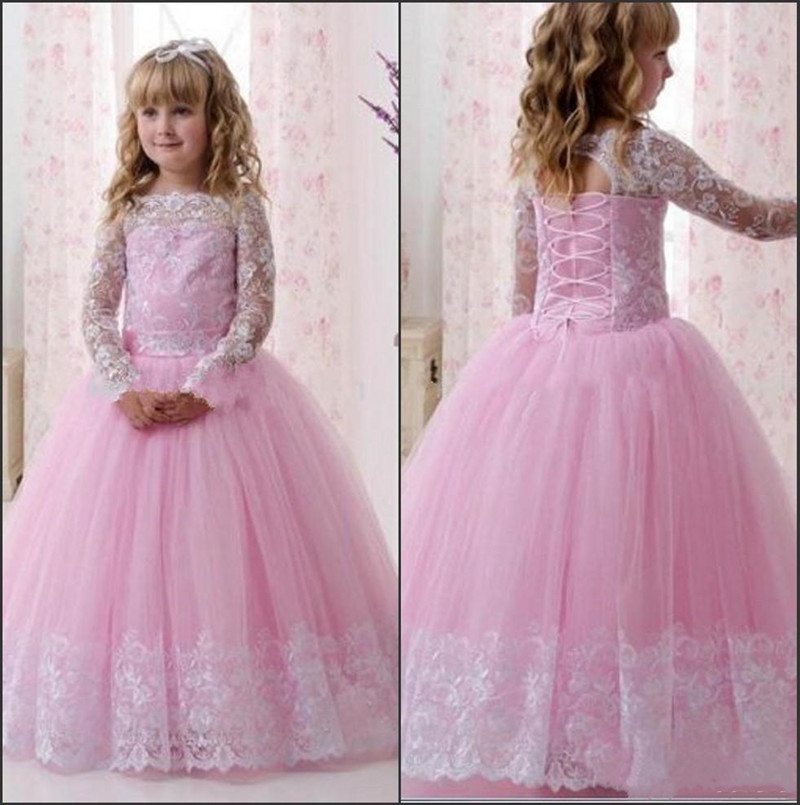 Vintage Pink Tulle Flower Girl Dress with White Lace Appliques Lace Up Back Designed for Special Occasion Girls Formal WearsVintage Pink Tulle Flower Girl Dress with White Lace Appliques Lace Up Back Designed for Special Occasion Girls Formal Wears