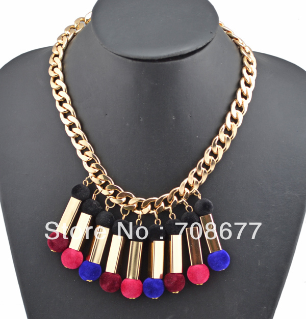 New European Style Golden Metal Cotton Chain NECKLACES  Ball Cosmetic Brush Shape Tassels Choker Necklace