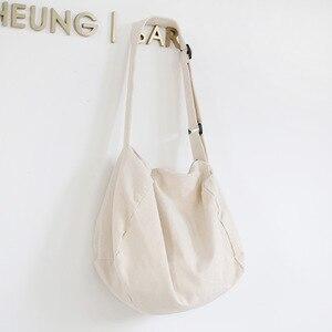 Image 5 - Women Canvas Shoulder Bag Casual Cotton Cloth Crossbody Bags Solid Zipper Handbag Shopping Bag Tote Student Eco Simple Book Bags