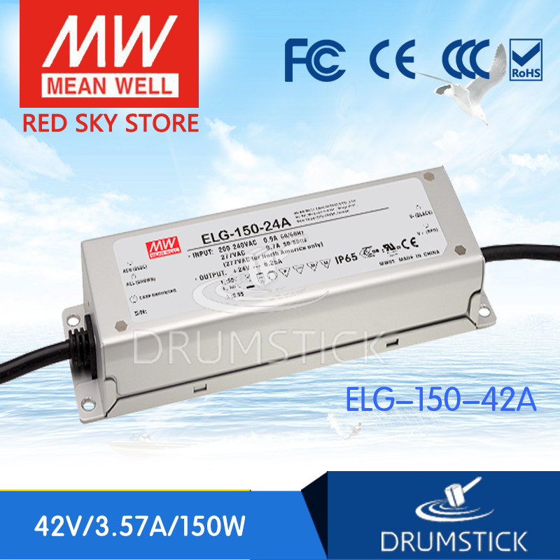MEAN WELL ELG-150-42A 42V 3.57A meanwell ELG-150 42V 150W Single Output LED Driver Power Supply A type mean well hvgc 150 350a 42 428v 350ma meanwell hvgc 150 149 8w singleoutput led driver power supply a type