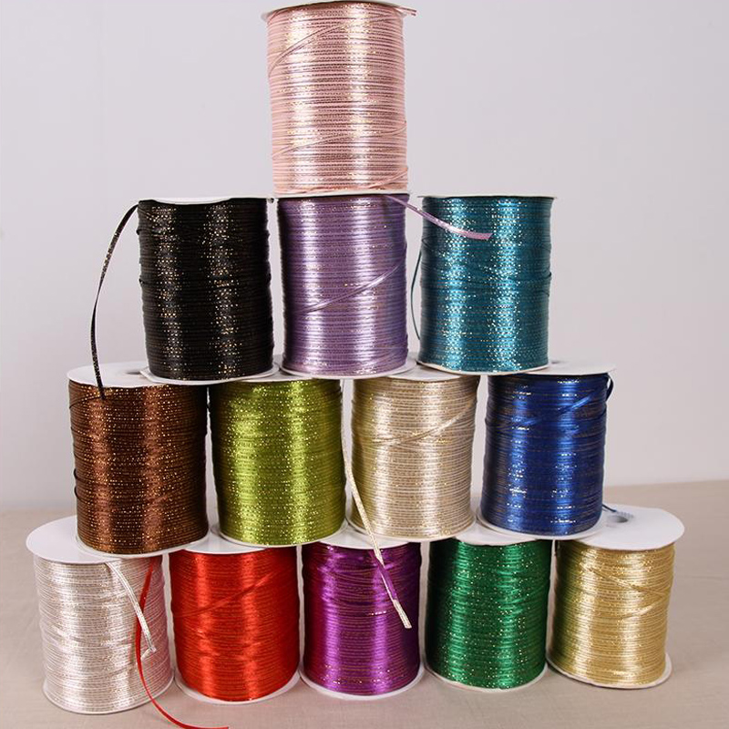 REDJCK 870 Yards oll 3 mm Width Gold Side Satin Ribbon DIY Material Sewing Gift Wrap Webbing Ribbons For Wedding Decoration