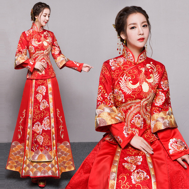 China Vintage cheongsam red chinese style evening dress show clothing bride Wedding dress dragon gown costume kimono Outfit
