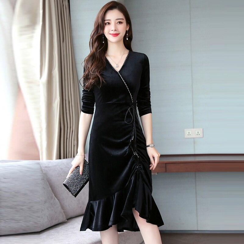 Automne hiver dames v-cou volants bas noir robe femmes mode or Velet robes femme Slim robes de soirée RE2019