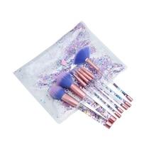 2017 New Makeup Brushes 7Pcs Set Transparent Fluid Crystal Brush With PVC Pouch Unicorn Mermaid Pincel