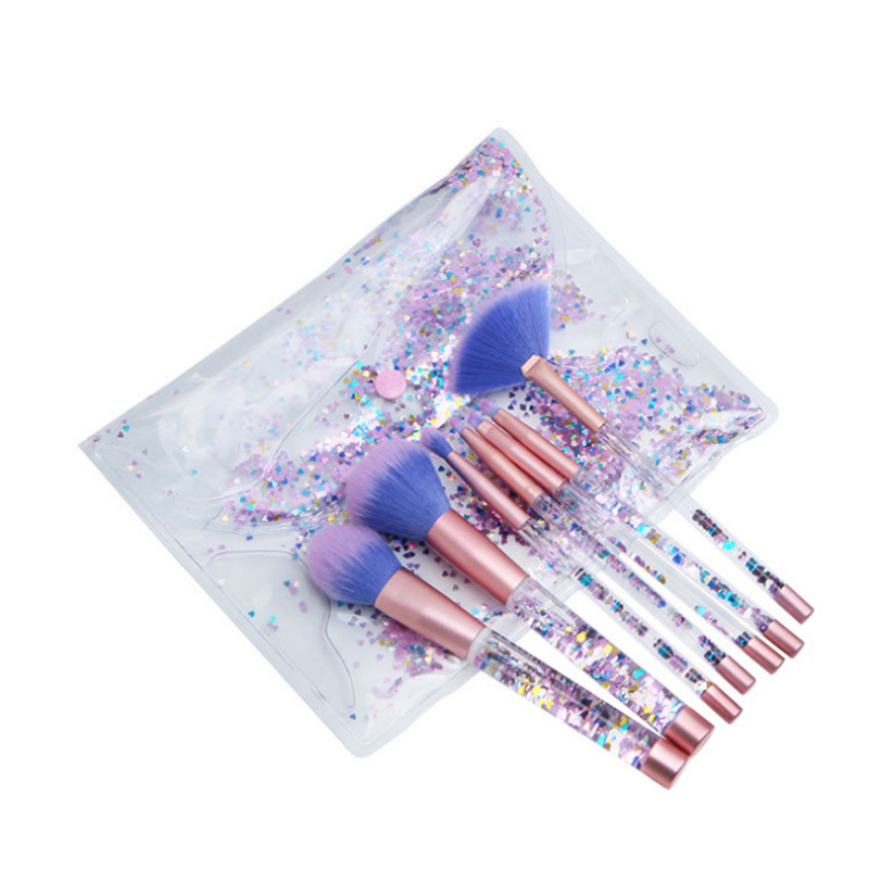Glitter Makeup Brushes 7Pcs/Set Transparent Fluid Crystal Brush with PVC Pouch Unicorn Mermaid pincel maquiagem