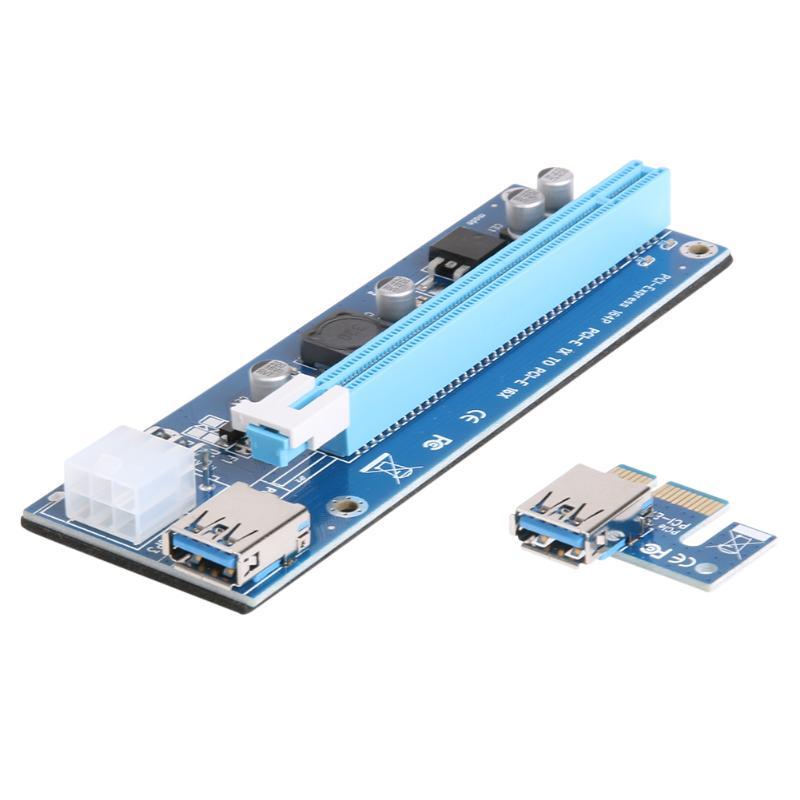 PCI-E Riser Card PCI Express 1x to 16x Graphics Card Raiser Extender 6Pin SATA Power Adapter Board for Bitcoin Mining BTC Miner 10pcs 006c blue 1x to 16x pci express riser card pci e extender 60cm usb 3 0 cable sata to 6pin power for btc miner raiser card