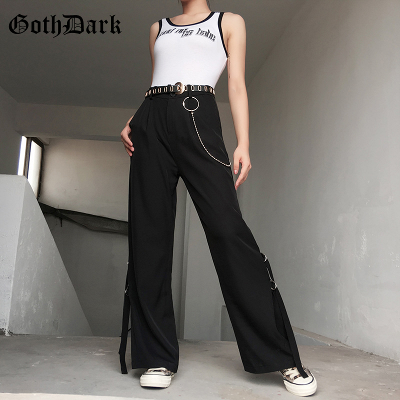Goth Dark Black Patchwork Punk Gothic Female Pants Harajuku Flare Rivet Button Zipper Autumn 2019 Trousers Fashion Streetwear