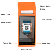 Mobile android pos terminal printer offline with 4G WIFI Bluetooth