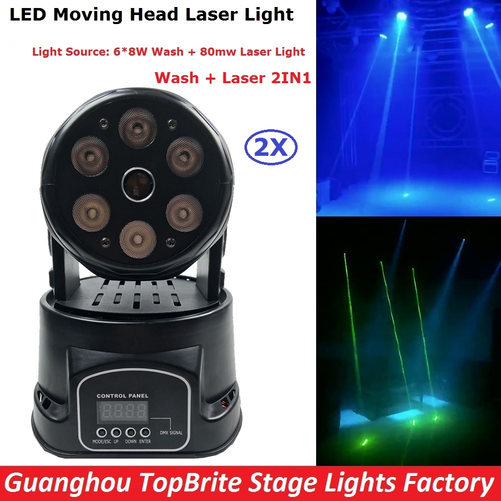 2Pcs/Lot  80mw LED Moving Head Laser Lights Mini Led Wash 6X8W RGBW 4IN1 LED Stage Lights DJ Disco DMX Professional Strobe Lamp