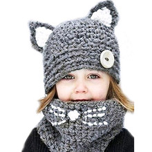 Knitted childrens hat animal cat ears set hand-knitted warm neck bonnet cute wool