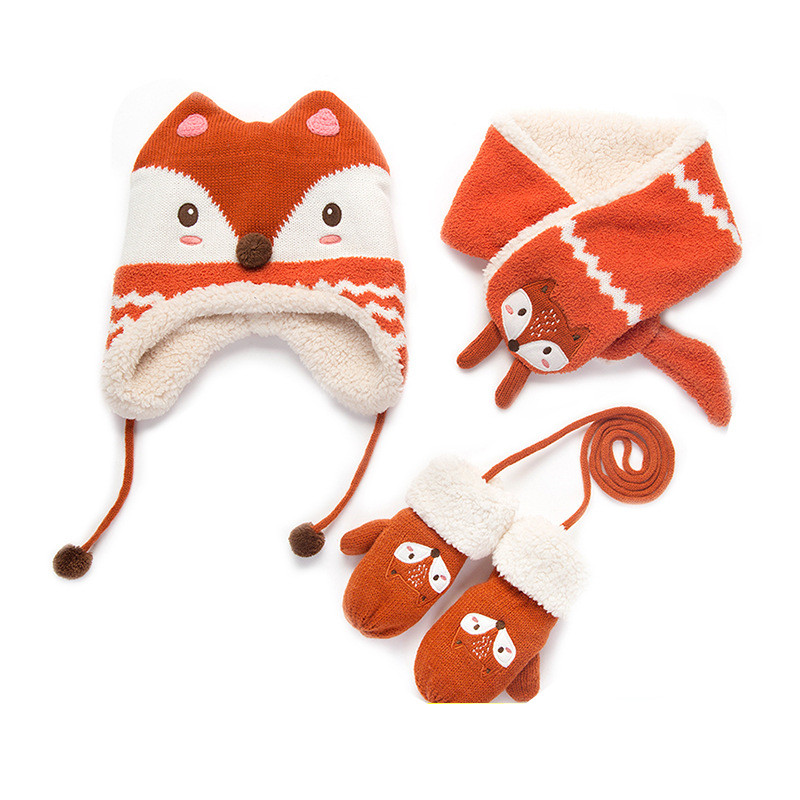 2-4T Knit Fun Red Fox Creature Toddler Hat /& Mittens Winter Set Sz