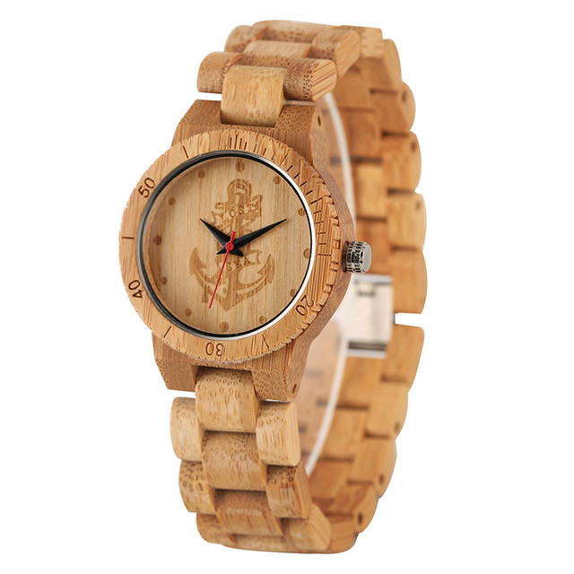 Casual Eco-friendly Nontoxic Bamboo Watch for Women Men Creative Quartz Watch Movement All Bamboo Natural Wood Wristwatch | Fotoflaco.net