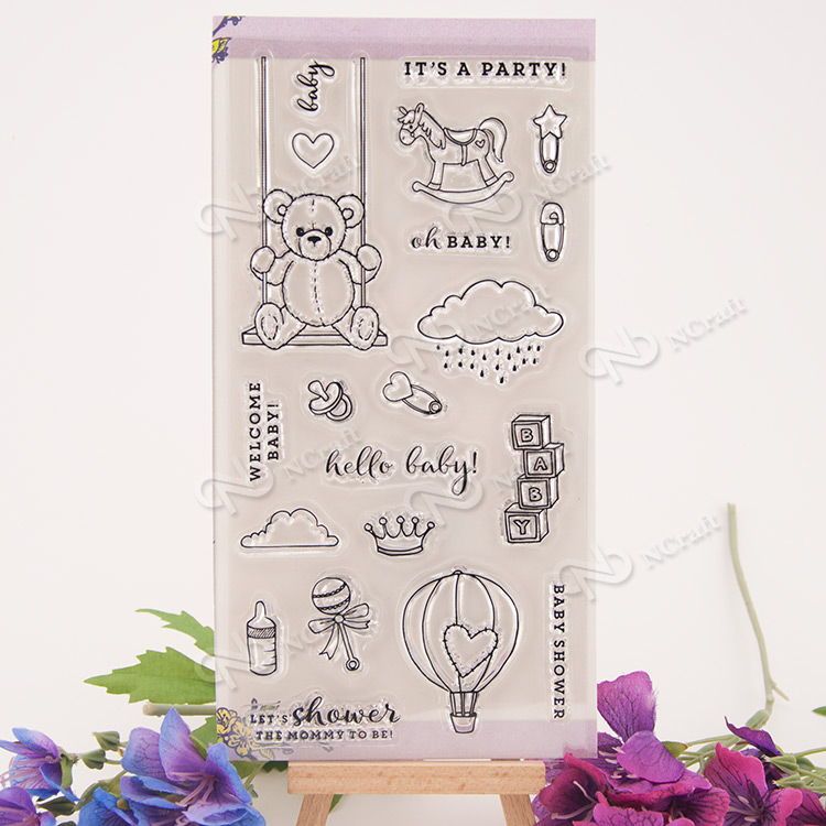 1 Sheet baby party Transparent Clear Silicone Stamps for DIY Scrapbooking/Card Making/Kids Fun Decoration Supplies Flower kscraft butterfly and insects transparent clear silicone stamps for diy scrapbooking card making kids fun decoration supplies