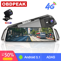 Smart Rearview Mirror 10 Touch Screen 4G WIFI Car DVR Android Stream Media Mirror Dual Lens Reverse Image GPS Navigation ADAS