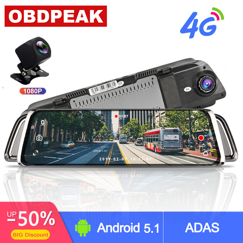 """Smart Rearview Mirror 10"""" Touch Screen 4G WIFI Car DVR Android Stream Media Mirror Dual Lens Reverse Image GPS Navigation ADAS"""